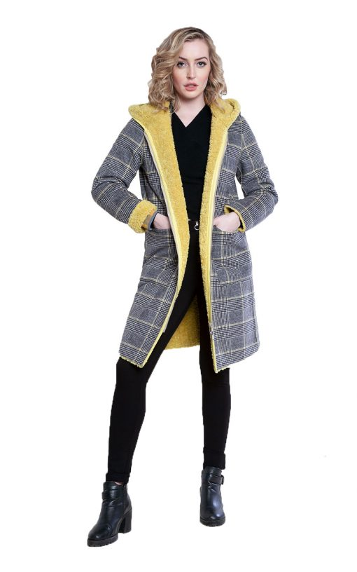 reversible yellow plaid coat- front