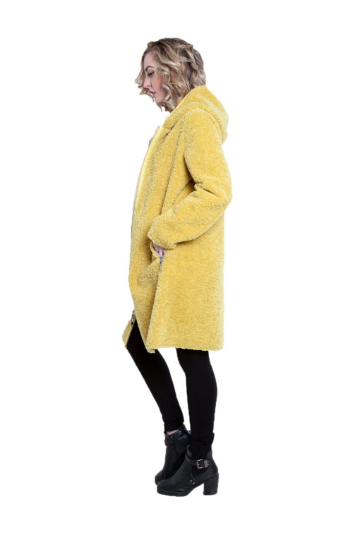 reversible yellow plaid coat- side