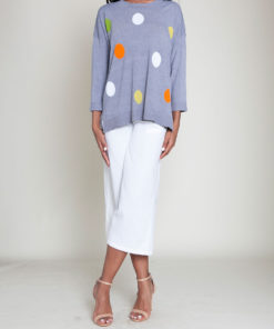 GREY POLKA DOT KNIT TOP- FRONT