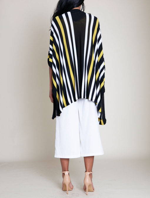 lime and white striped knit open sweater- back