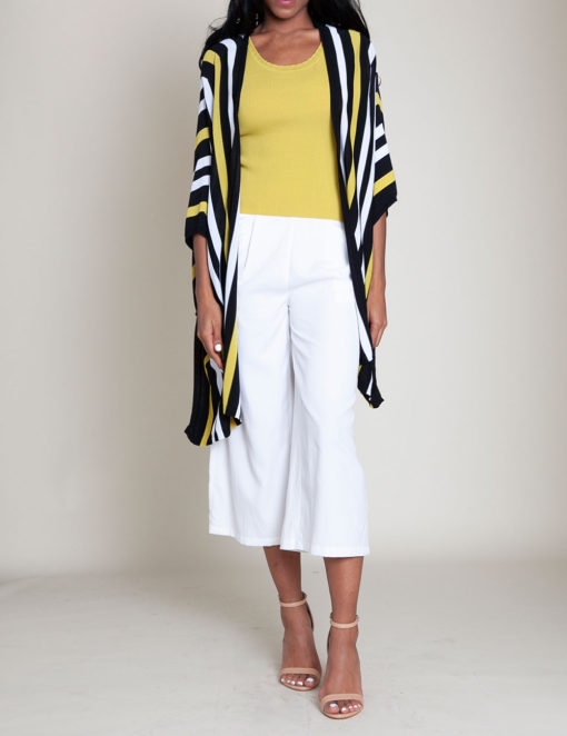 lime and white striped knit open sweater- front