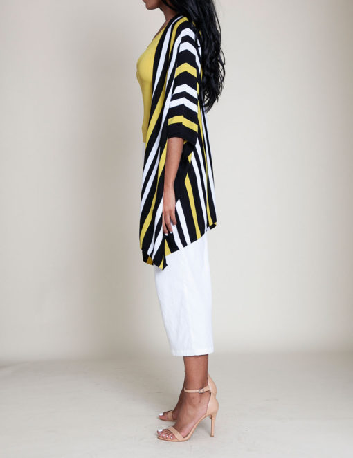 lime and white striped knit open sweater- side