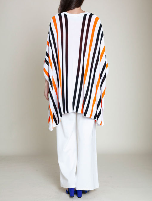 orange and navy striped knit open sweater- back