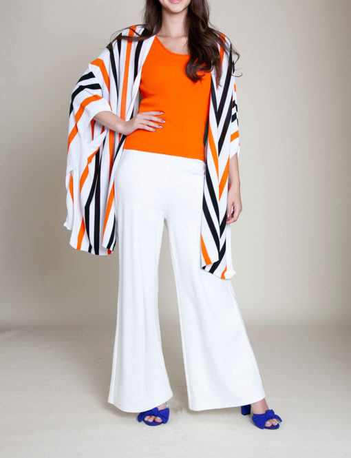 orange and navy striped knit open sweater- front