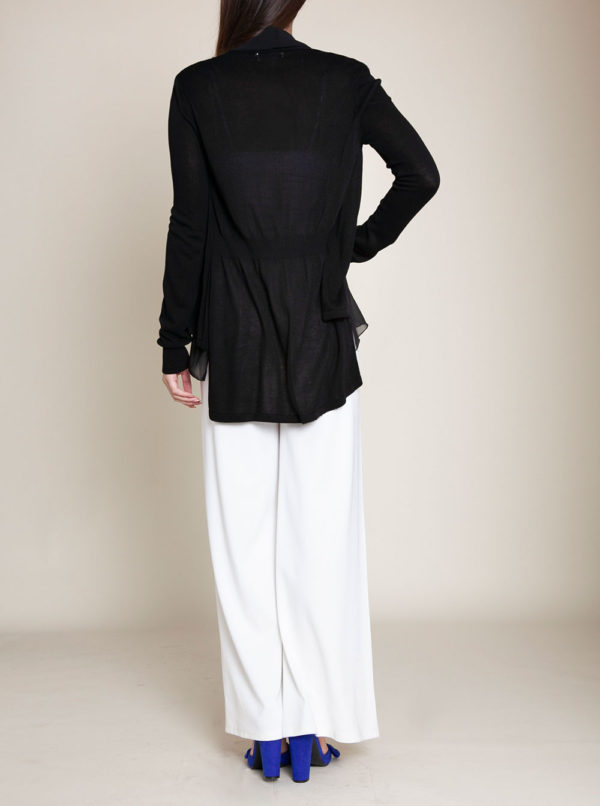 BLACK CHIFFON TRIM CARDIGAN- BACK