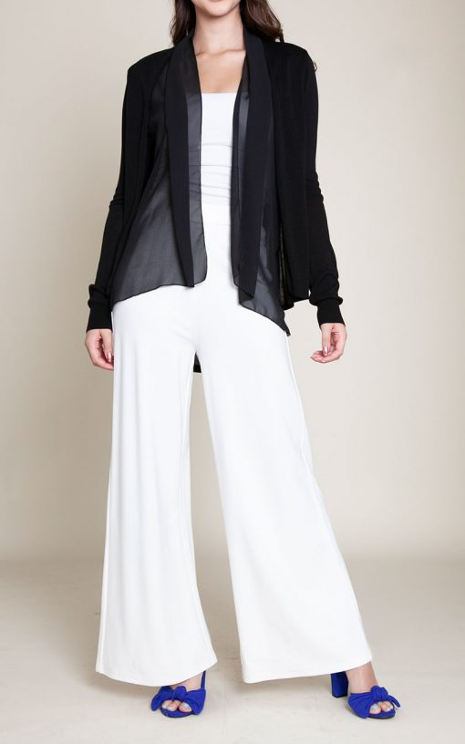 BLACK CHIFFON TRIM CARDIGAN- FRONT