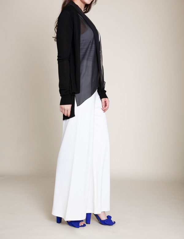 BLACK CHIFFON TRIM CARDIGAN- SIDE
