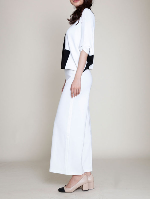black and white color blocked knit top- side