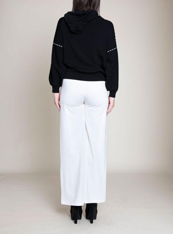 black knit hooded sweater- back
