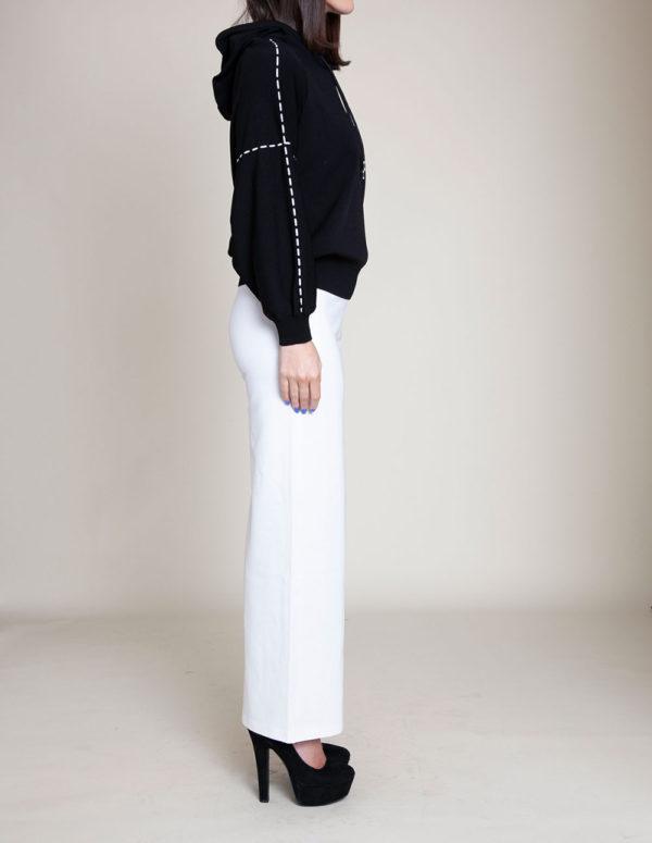 black knit hooded sweater- side