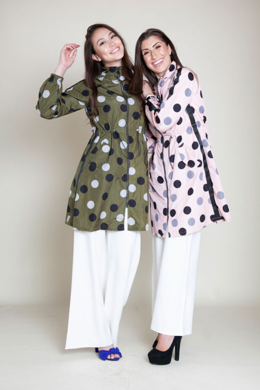 OLIVE AND PINK DOT JACKET- FRONT