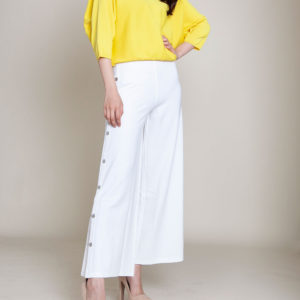 yellow slouch knit top- front