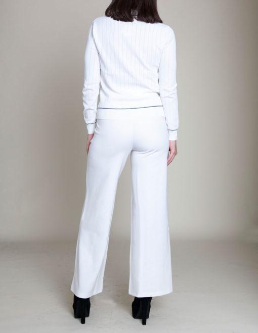 contrast stitch white knit sweater- back