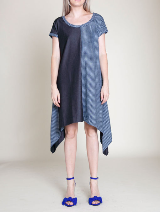 denim blue tunic dress- front
