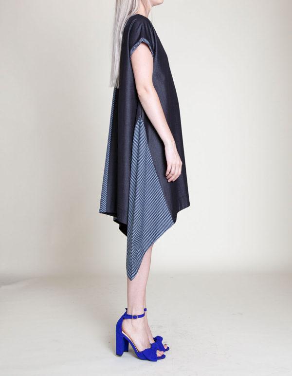 denim blue tunic dress- side
