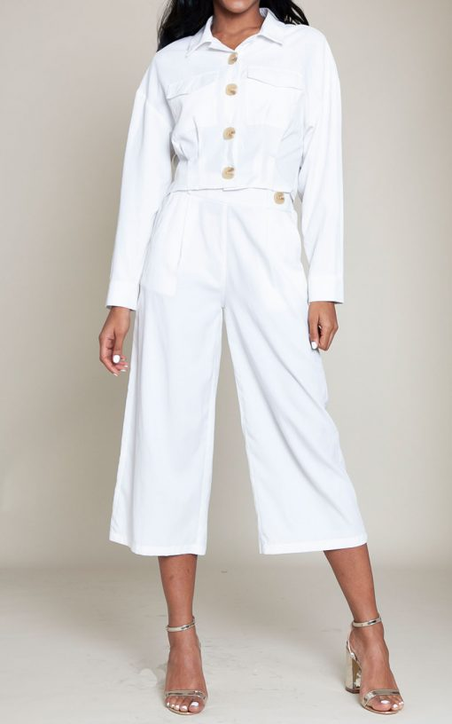 black and white co ord button detail jacket and pants- front
