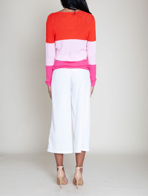 colorblocked knit sweater- back