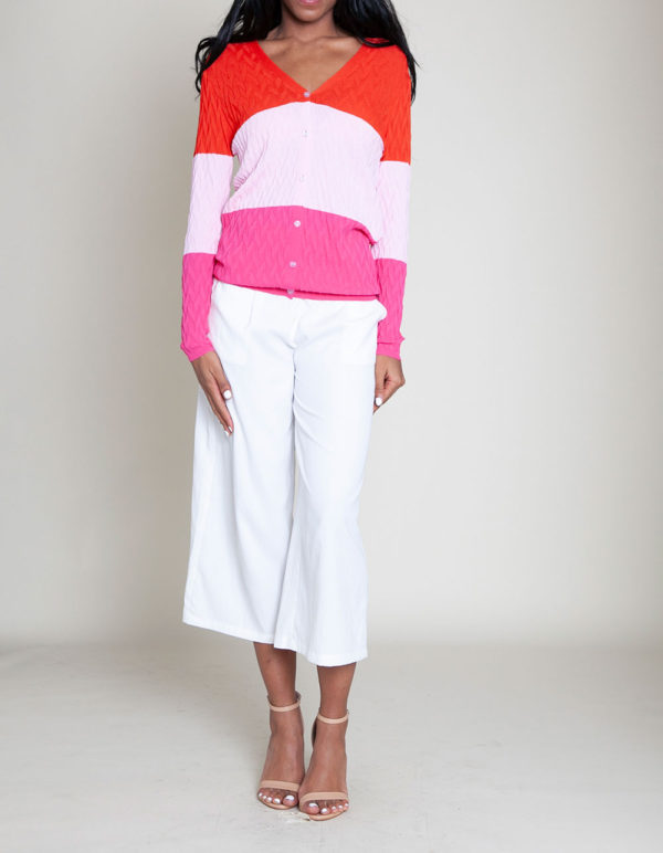 colorblocked knit sweater- front