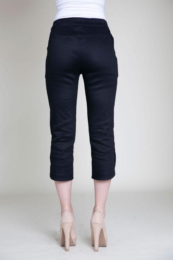 cropped black snap pants- back