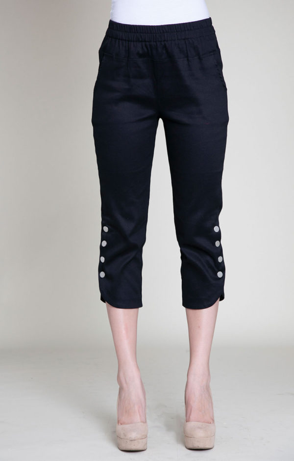 cropped black snap pants- front