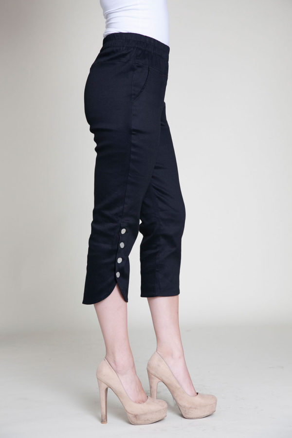 cropped black snap pants- side
