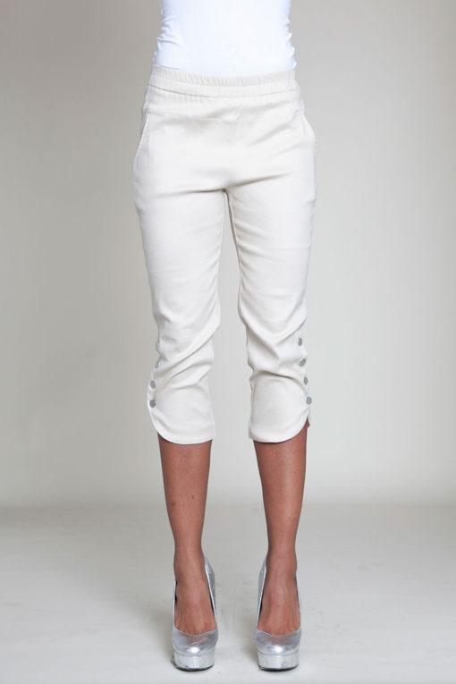 cropped khaki snap pants- front