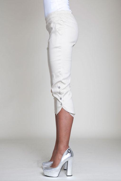 cropped khaki snap pants- side
