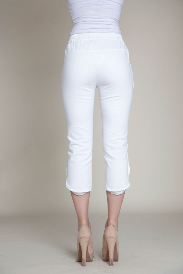 cropped white snap pants- back