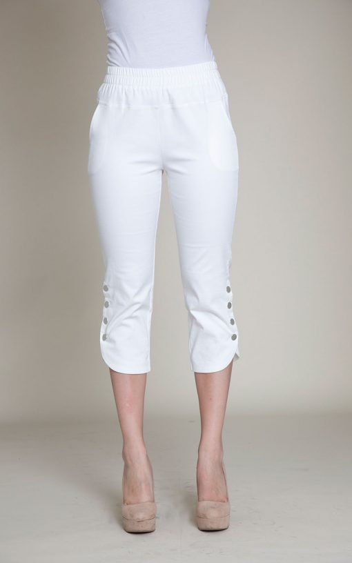 cropped white snap pants- front