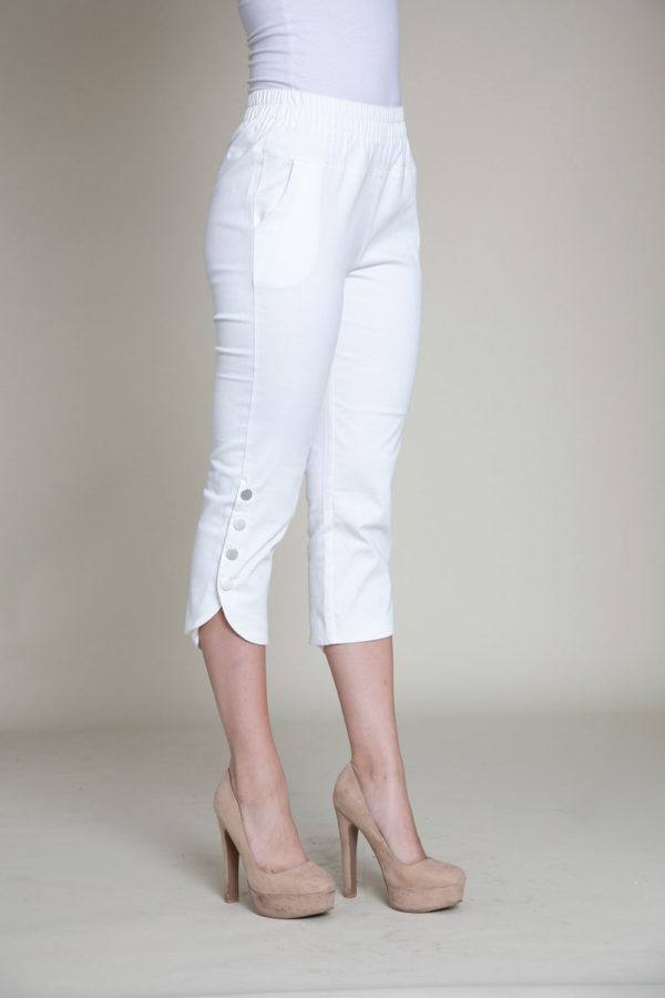 cropped white snap pants- side