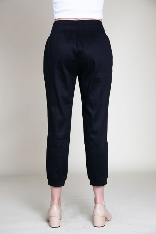 button side black pants- back