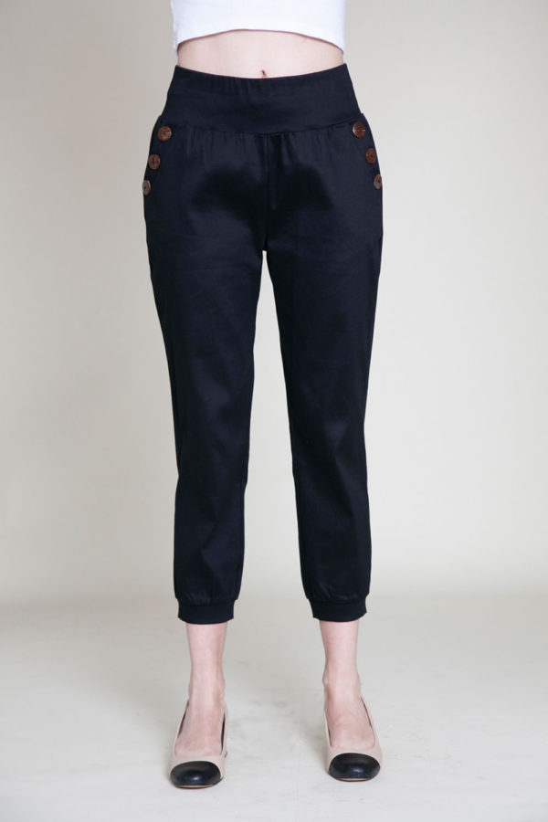 button side black pants- front