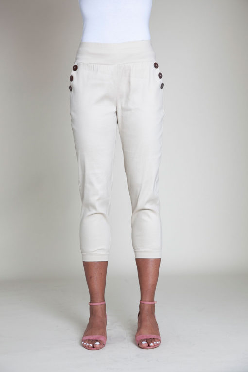 button side khaki pants- front