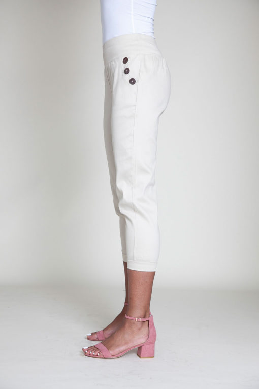 button side khaki pants- side