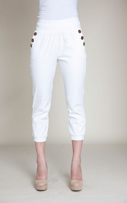 button side white pants- front