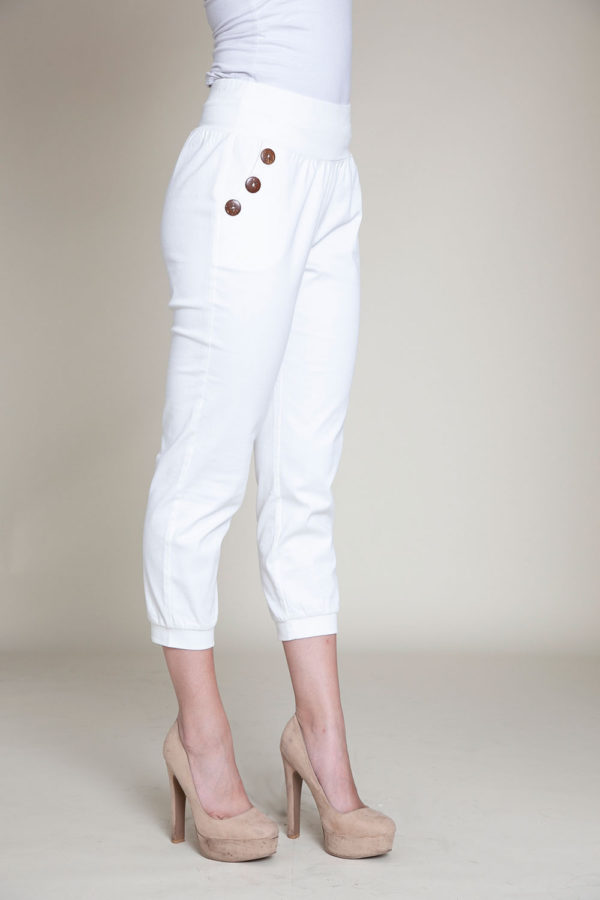 button side white pants- side