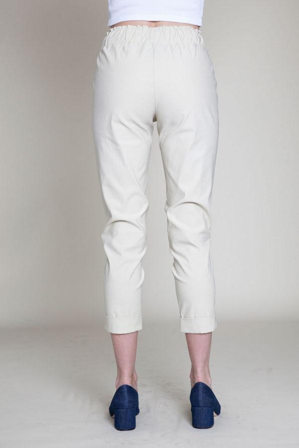 khaki drawstring crop pants- back