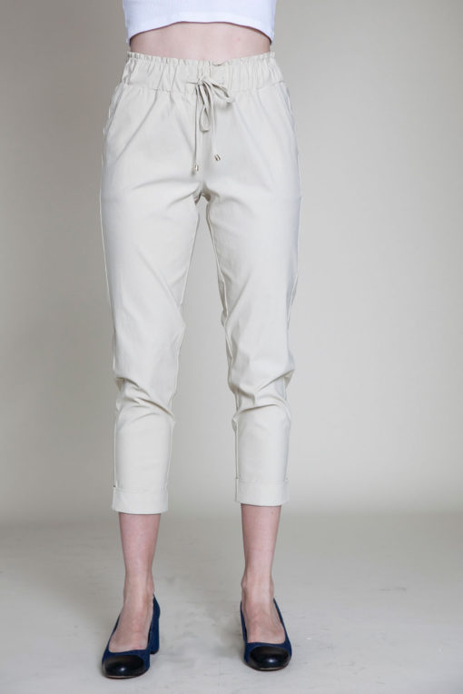 khaki drawstring crop pants- front
