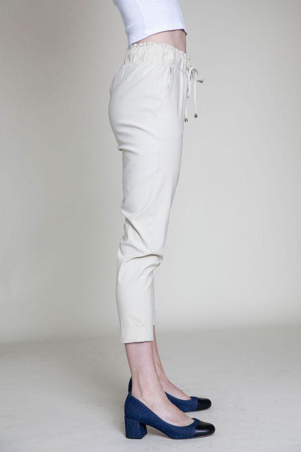 khaki drawstring crop pants- side