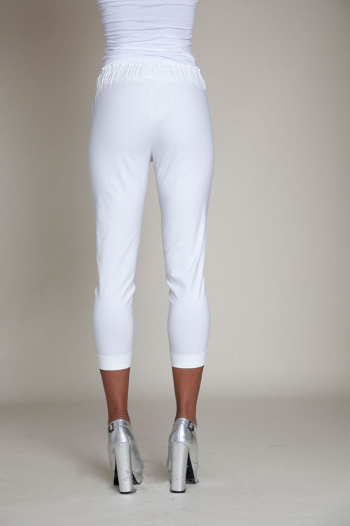 white drawstring crop pants- back