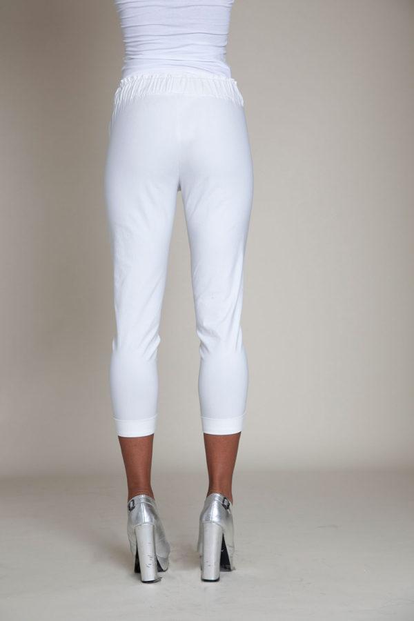 white drawstring crop pants- back