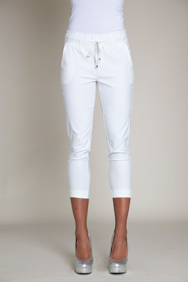 white drawstring crop pants- front