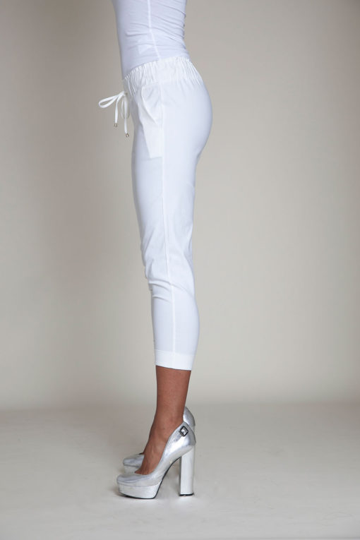 white drawstring crop pants- side