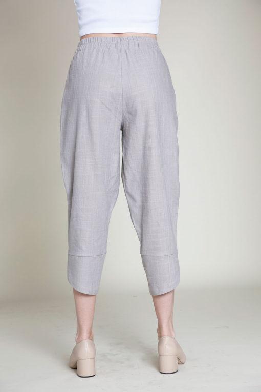 grey linen pants- back