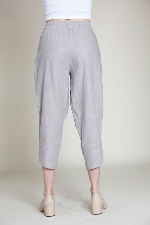 grey linen pants- back