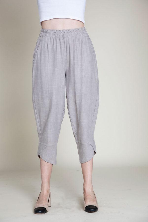 grey linen pants- front