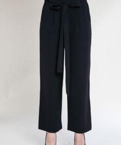 black paperbag waist pants- front