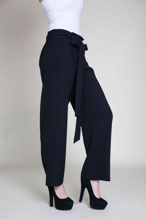 black paperbag waist pants- side