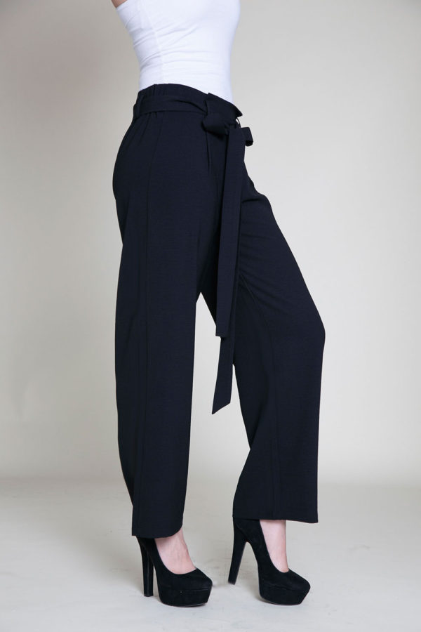 black paperbag waist pants- side