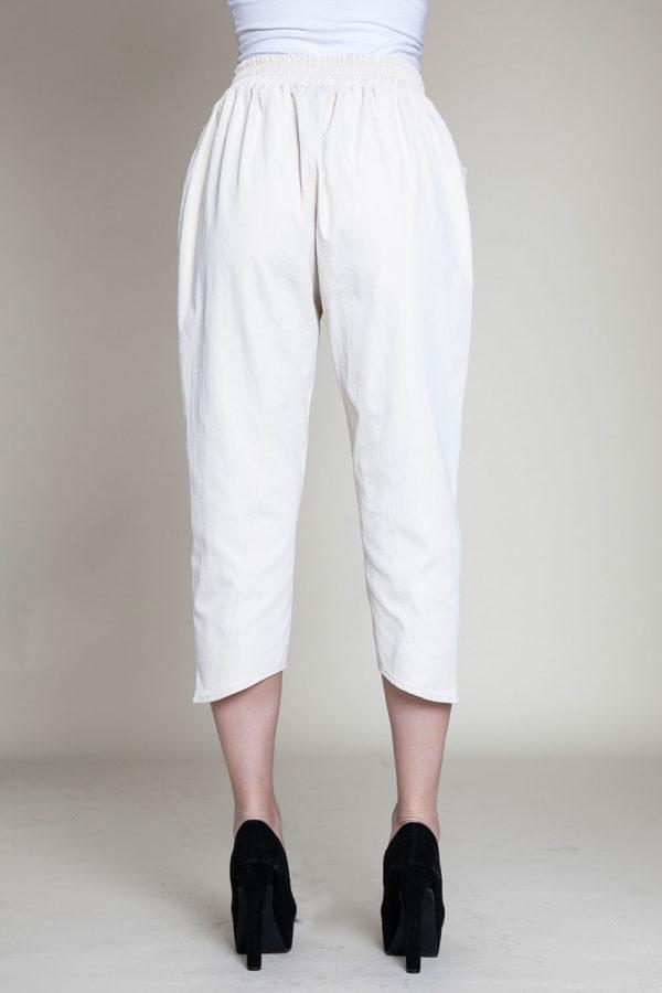 khaki cropped pants- back